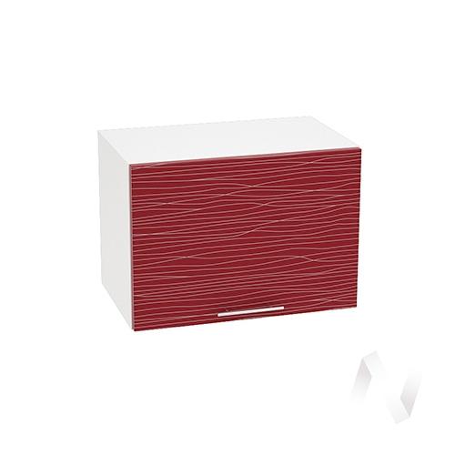 """Кухня """"Валерия-М"""": Шкаф верхний горизонтальный 500, ШВГ 500 (Страйп красный/корпус белый)"""