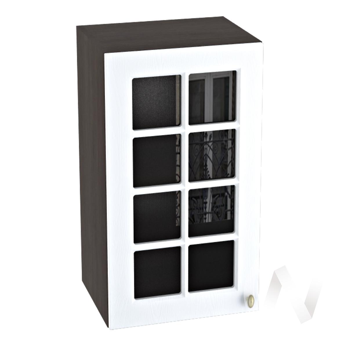 """Кухня """"Прованс"""": Шкаф верхний со стеклом 400, ШВС 400 (белое дерево/корпус венге)"""