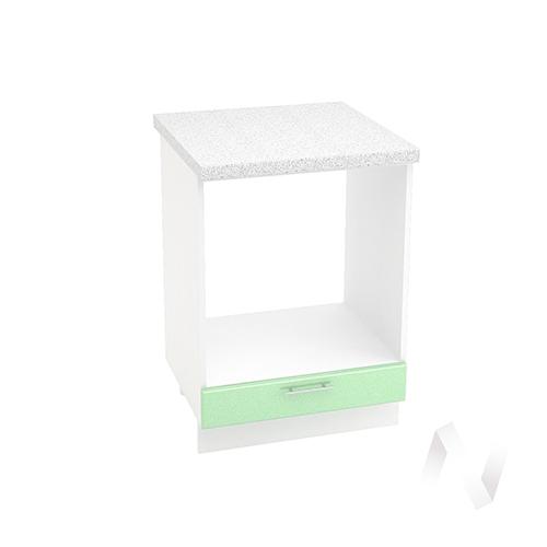 """Кухня """"Вега"""": Шкаф нижний под духовку 600, ШНД 600 (салатовый металлик/корпус белый)"""
