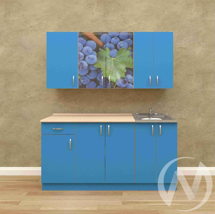 Кухня Виноград 1,6 м (белый/синий)