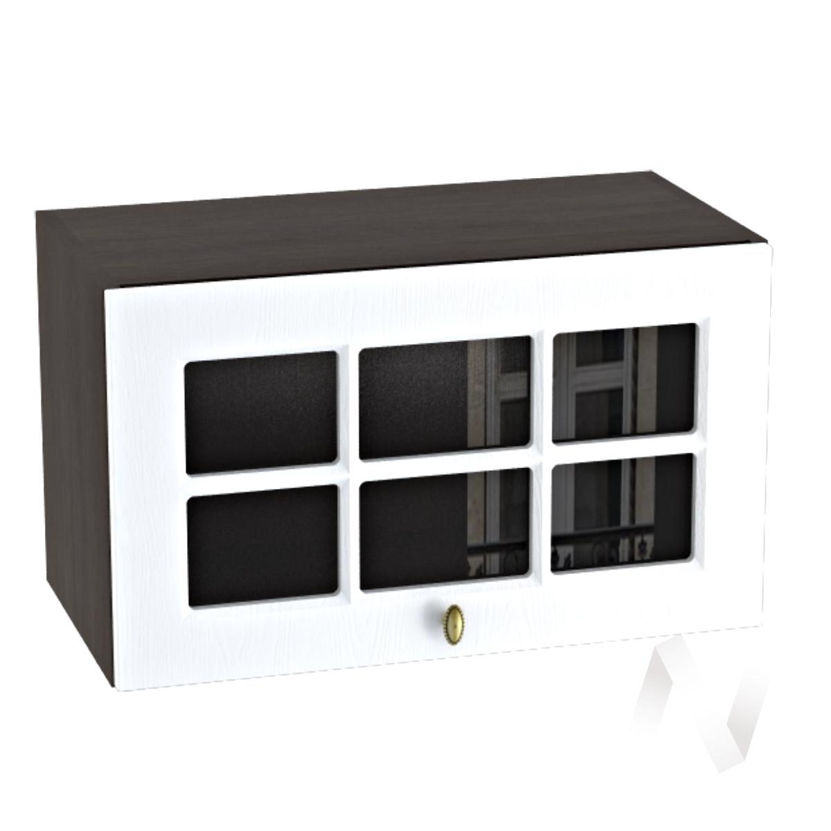 """Кухня """"Прованс"""": Шкаф верхний горизонтальный со стеклом 600, ШВГС 600 (белое дерево/корпус венге)"""