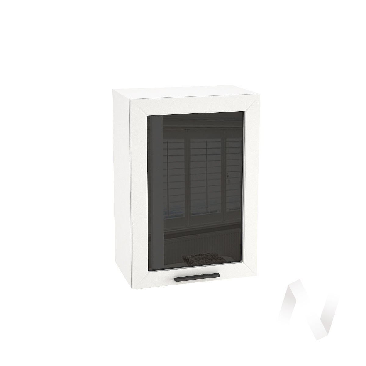"Кухня ""Глетчер"": Шкаф верхний со стеклом 500, ШВС 500 (Айленд Силк/корпус белый)"