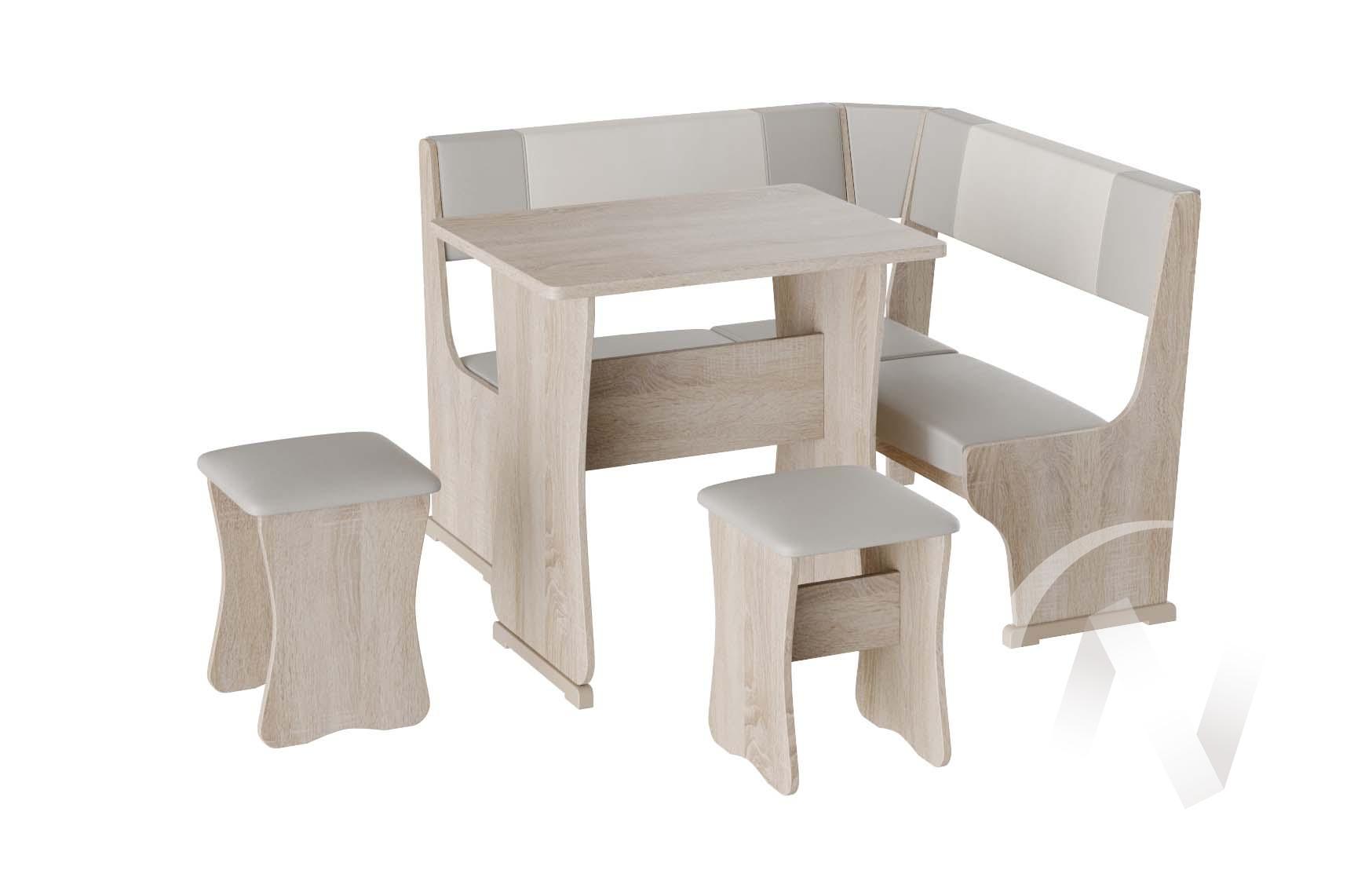 Кухонный уголок Гамма мини тип 1 кожзам (дуб сонома/серый,белый)  в Томске — интернет магазин МИРА-мебель