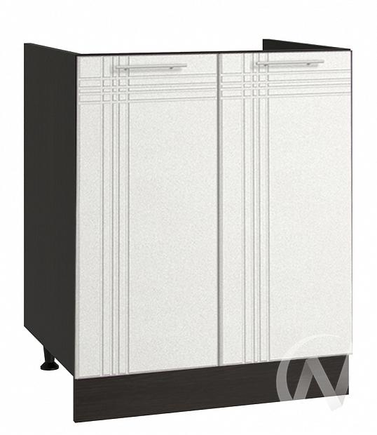 """Кухня """"Струна"""": Шкаф нижний под мойку 600, ШНМ 600 (белый металлик/корпус венге)"""