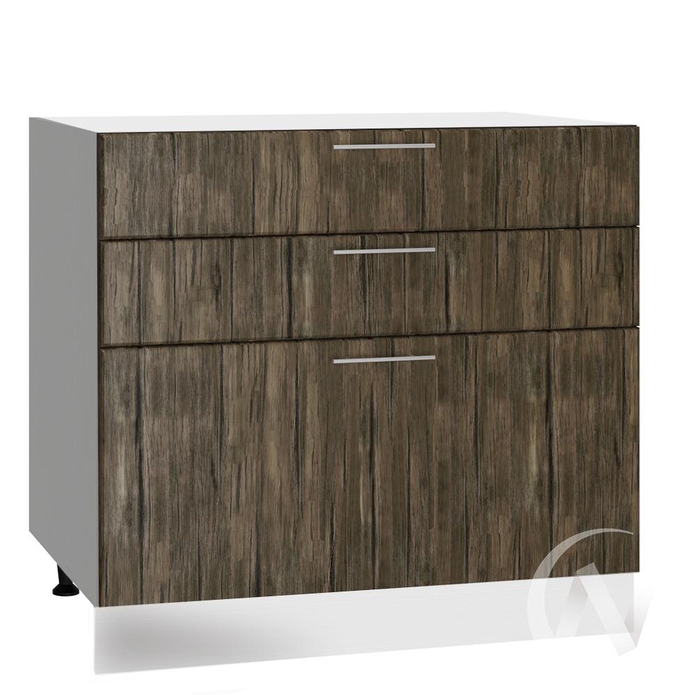 """Кухня """"Норден"""": Шкаф нижний с 3-мя ящиками 800, ШН3Я 800 (старое дерево/корпус белый)"""