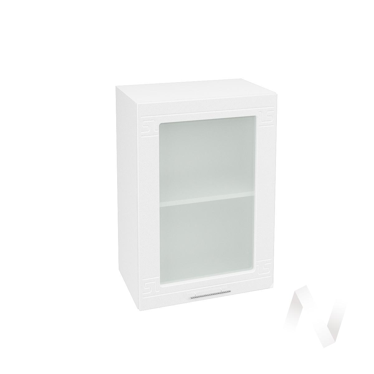 """Кухня """"Греция"""": Шкаф верхний со стеклом 500, ШВС 500 (белый металлик/корпус белый)"""