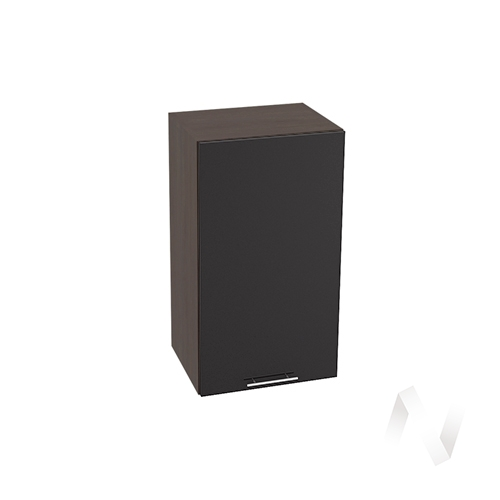 """Кухня """"Валерия-М"""": Шкаф верхний 400, ШВ 400 (черный металлик/корпус венге)"""