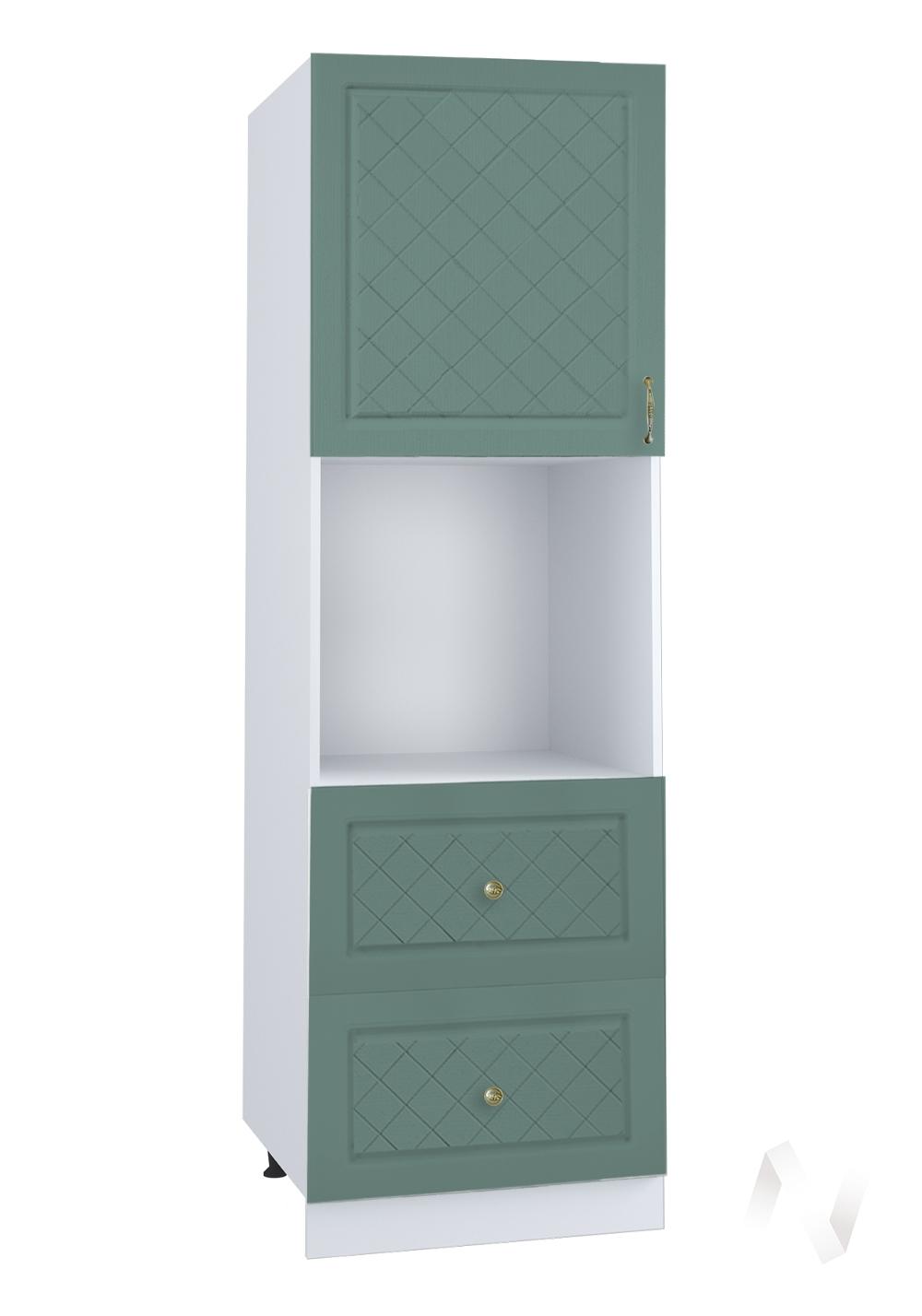 """Кухня """"Селена"""": Шкаф пенал с 2-мя ящиками 600, ШП2Я 600 (Дуб бирюзовый/корпус белый)"""