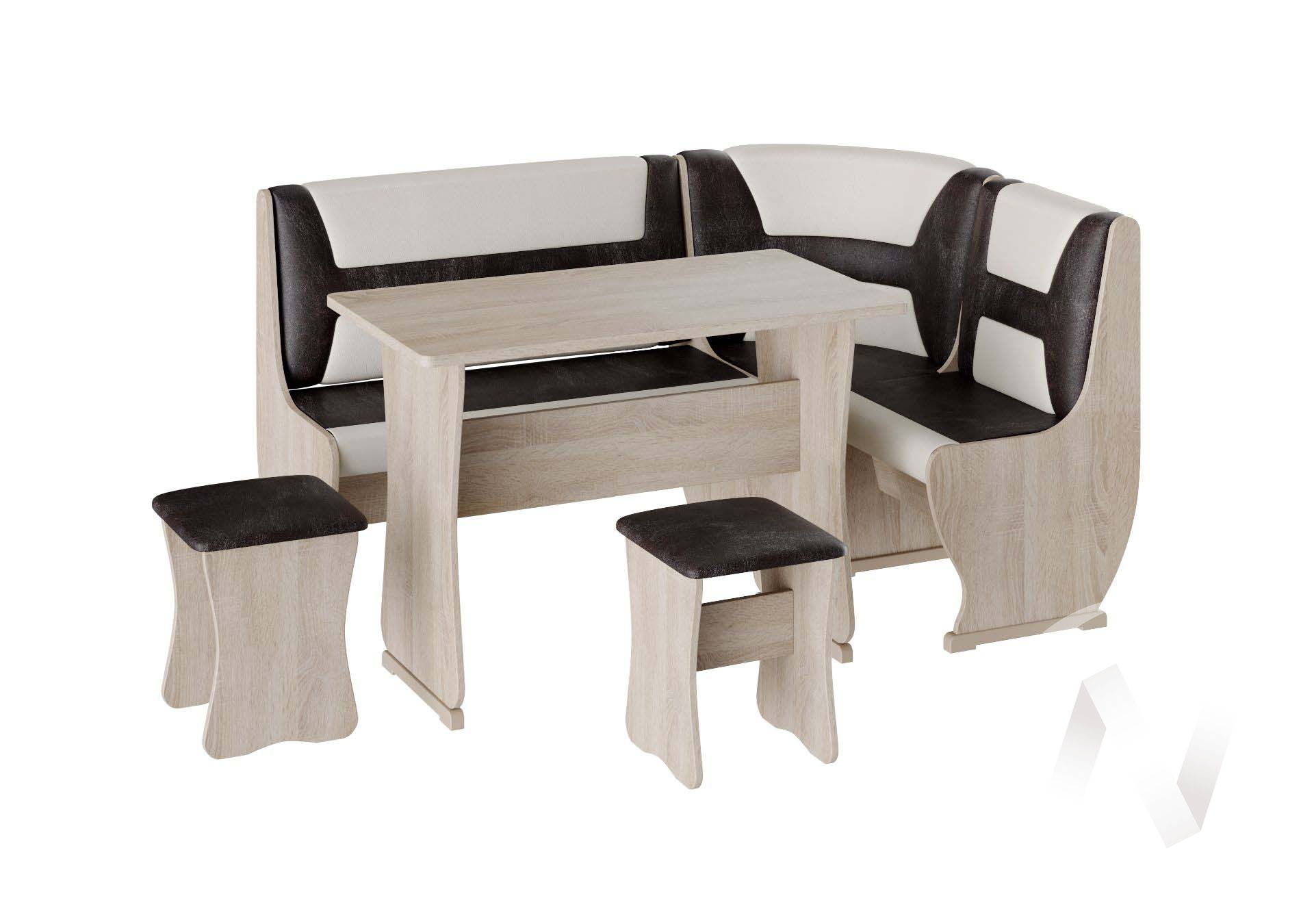 Кухонный уголок Уют 3 универсал кожзам (дуб сонома/шоколад,бежевый)  в Томске — интернет магазин МИРА-мебель