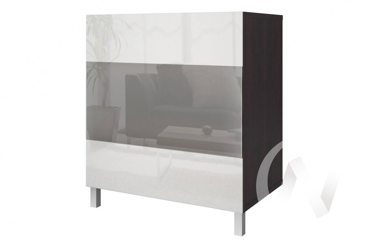 """Шкаф высокий со стеклом """"Прато"""" (Дуб феррара /Белый глянец)"""