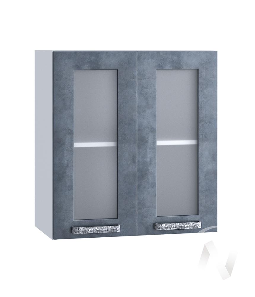 "Кухня ""Лофт"": Шкаф верхний со стеклом 600, ШВС 600 (Бетон графит/корпус белый)"