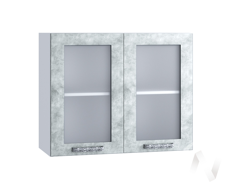 "Кухня ""Лофт"": Шкаф верхний со стеклом 800, ШВС 800 (Бетон серый/корпус белый)"