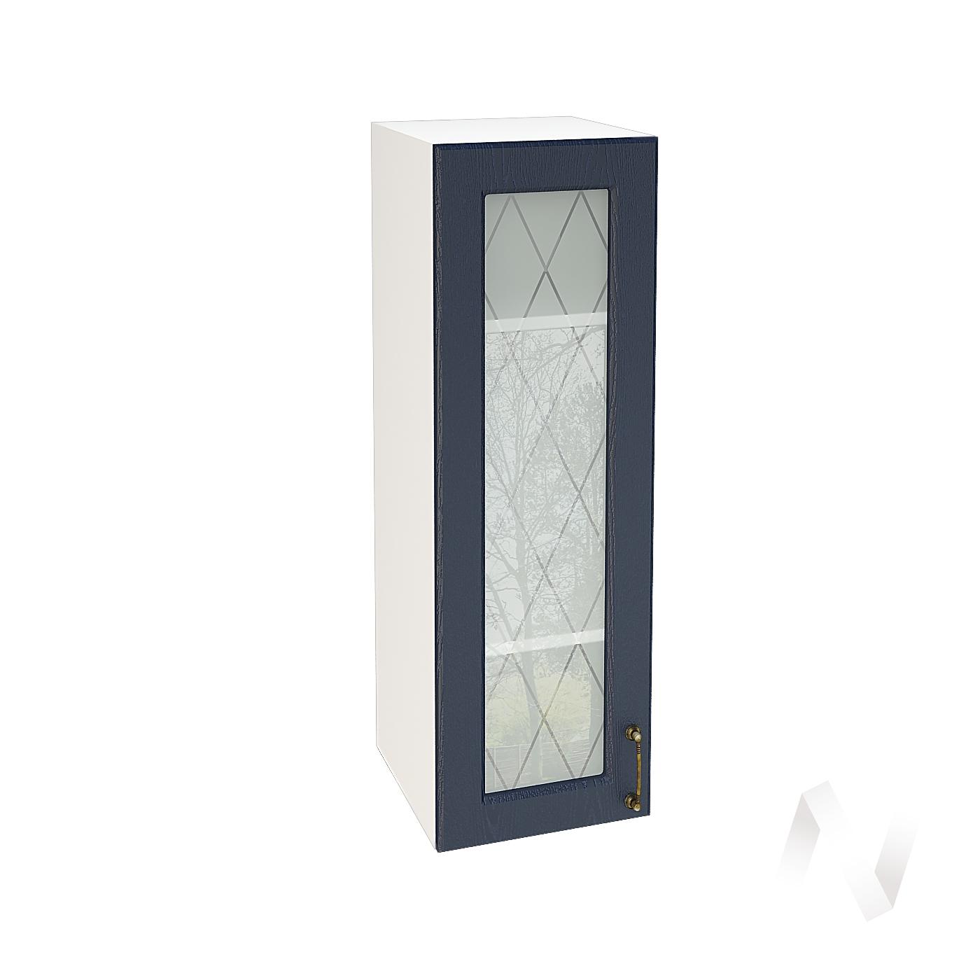 """Кухня """"Ницца"""": Шкаф верхний со стеклом 309, ШВС 309 (Дуб чернильный/корпус белый)"""