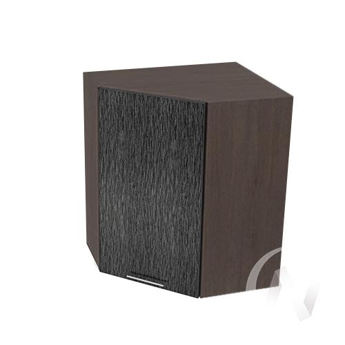 """Кухня """"Валерия-М"""": Шкаф верхний угловой 590, ШВУ 590 (дождь черный/корпус венге)"""