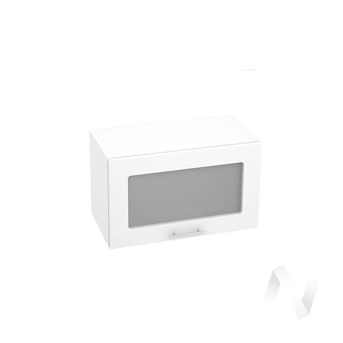 """Кухня """"Валерия-М"""": Шкаф верхний горизонтальный со стеклом 600, ШВГС 600 (бел. металлик/корпус белый)"""