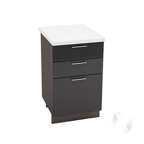 """Кухня """"Валерия-М"""": Шкаф нижний с 3-мя ящиками 500, ШН3Я 500 (черный металлик/корпус венге)"""
