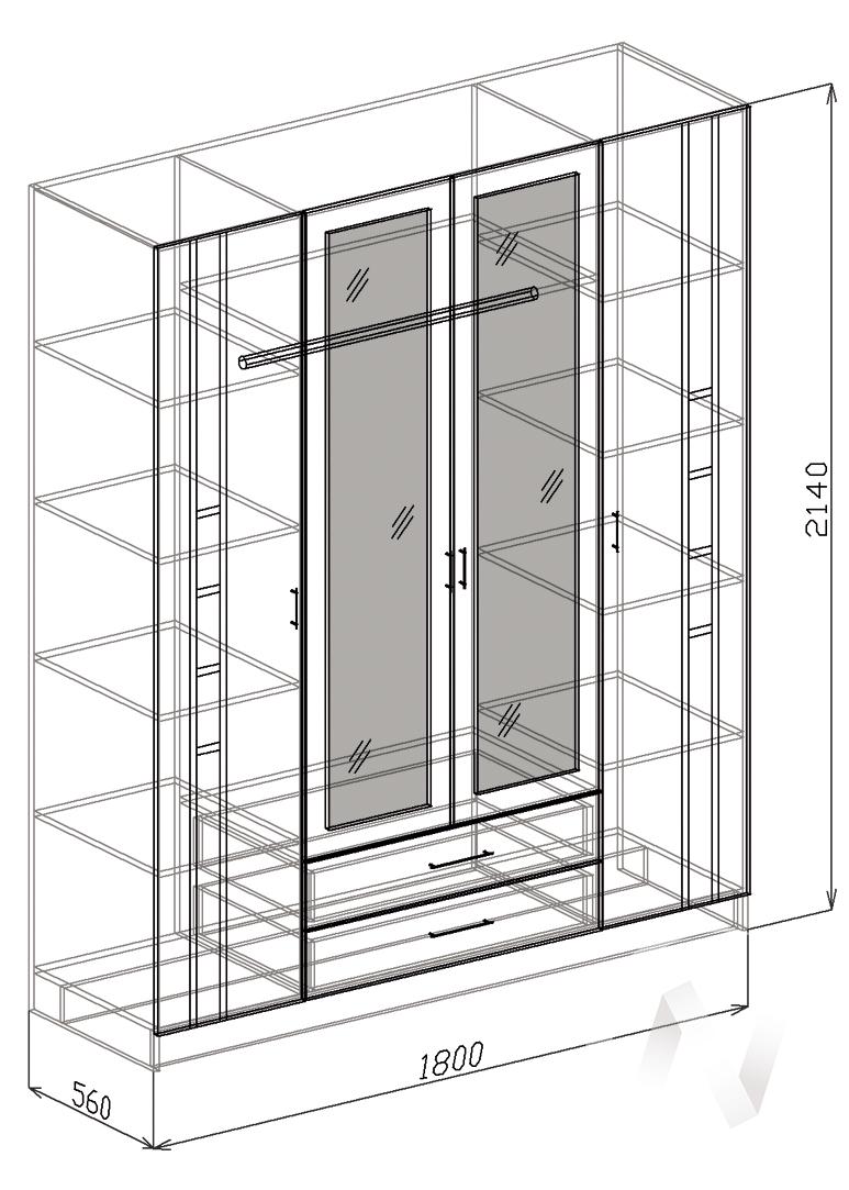 Палермо Шкаф 4х створчатый (венге-белый дым) в Томске — авторская мебель Экостиль