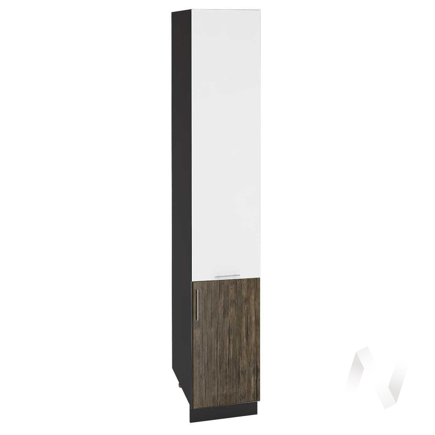"Кухня ""Норден"": Шкаф пенал 400Н, ШП 400Н (старое дерево/белый глянец/корпус венге)"