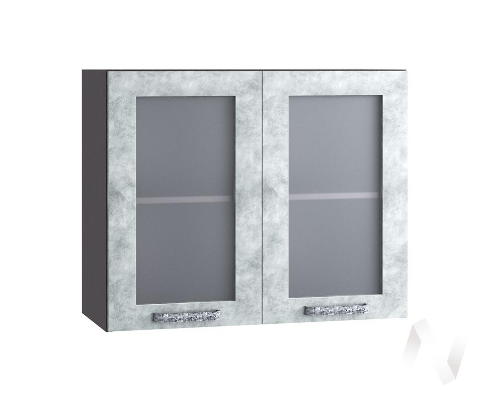 "Кухня ""Лофт"": Шкаф верхний со стеклом 800, ШВС 800 (Бетон серый/корпус венге)"