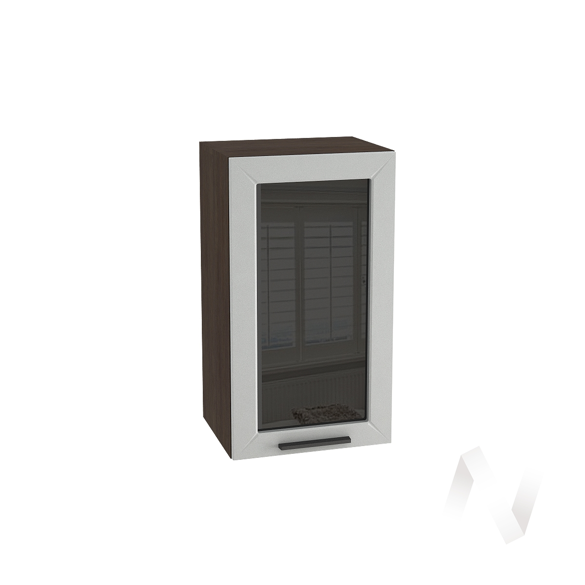 """Кухня """"Глетчер"""": Шкаф верхний со стеклом 400, ШВС 400 (Гейнсборо Силк/корпус венге)"""