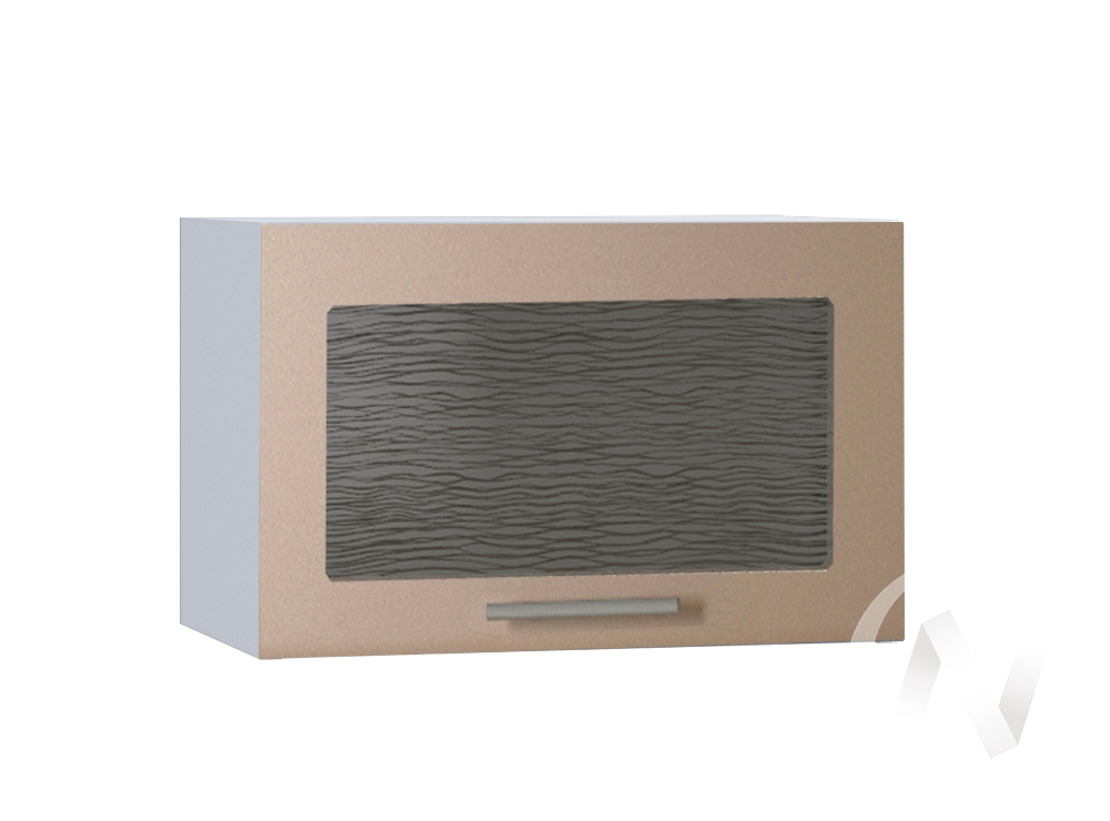 """Кухня """"Люкс"""": Шкаф верхний горизонтальный со стеклом 500, ШВГС 500 (Шоколад матовый/корпус белый)"""