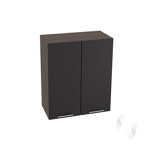 """Кухня """"Валерия-М"""": Шкаф верхний 600, ШВ 600 (черный металлик/корпус венге)"""