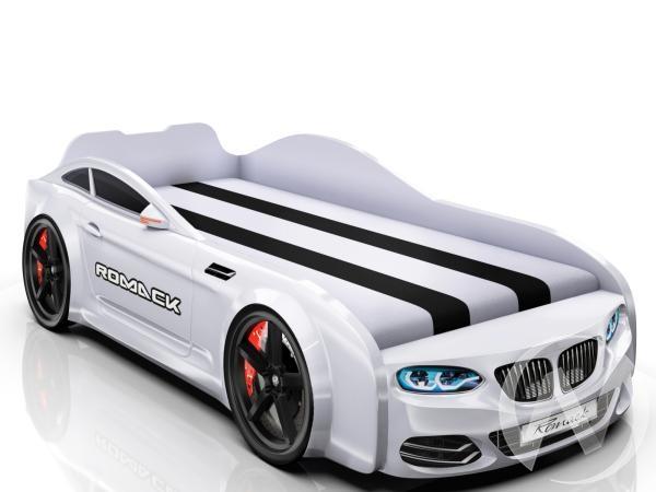 Кровать машинка Real-M с ящиком и фирменными полосками (белый БМВ)