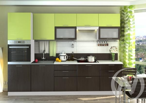 "Кухня ""Валерия-М"": лайм глянец/венге (корпус белый)"