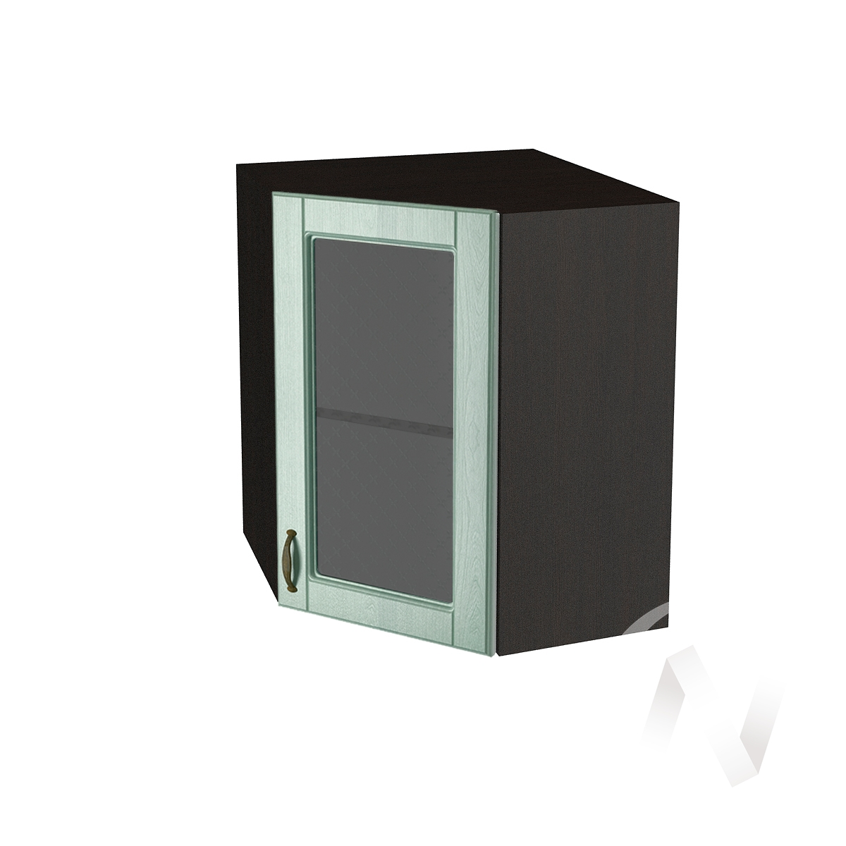 """Кухня """"Прованс"""": Шкаф верхний угловой со стеклом 590, ШВУС 590 (корпус венге)"""