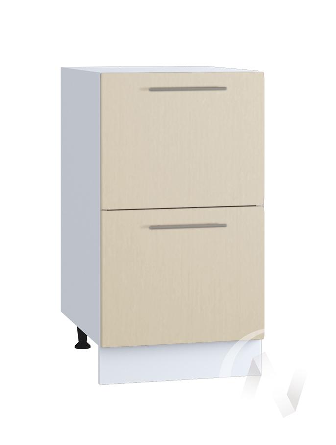 "Кухня ""Люкс"": Шкаф нижний с 2-мя ящиками 400, ШН2Я 400 (Шелк жемчуг/корпус белый)"