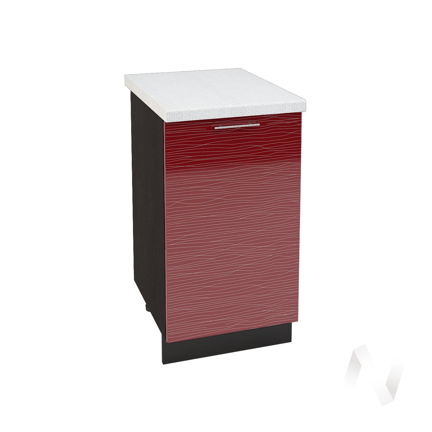 """Кухня """"Валерия-М"""": Шкаф нижний 450, ШН 450 (Страйп красный/корпус венге)"""