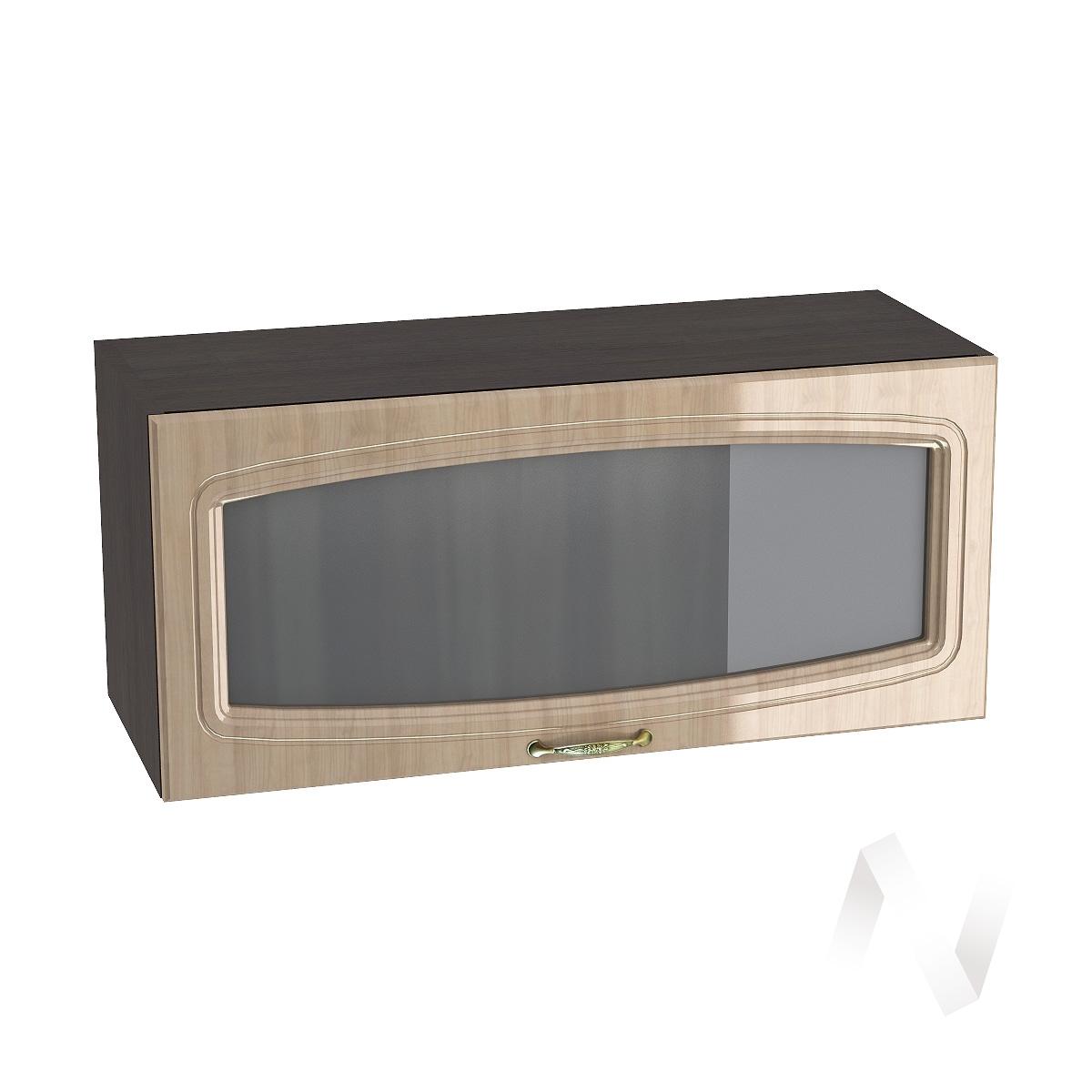"""Кухня """"Сити"""": Шкаф верхний горизонтальный со стеклом 800, ШВГС 800 (корпус венге)"""