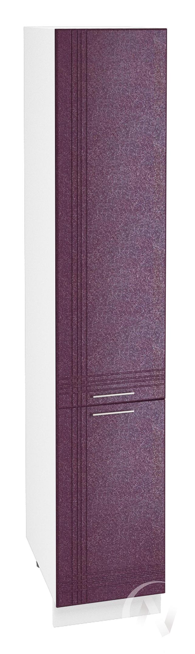 """Кухня """"Струна"""": Шкаф пенал 400, ШП 400 (фиолетовый металлик/корпус белый)"""