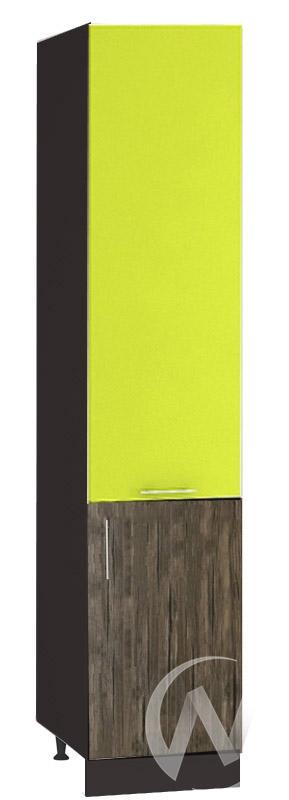 "Кухня ""Норден"": Шкаф пенал 400, ШП 400 (лайм глянец/старое дерево/корпус венге)"