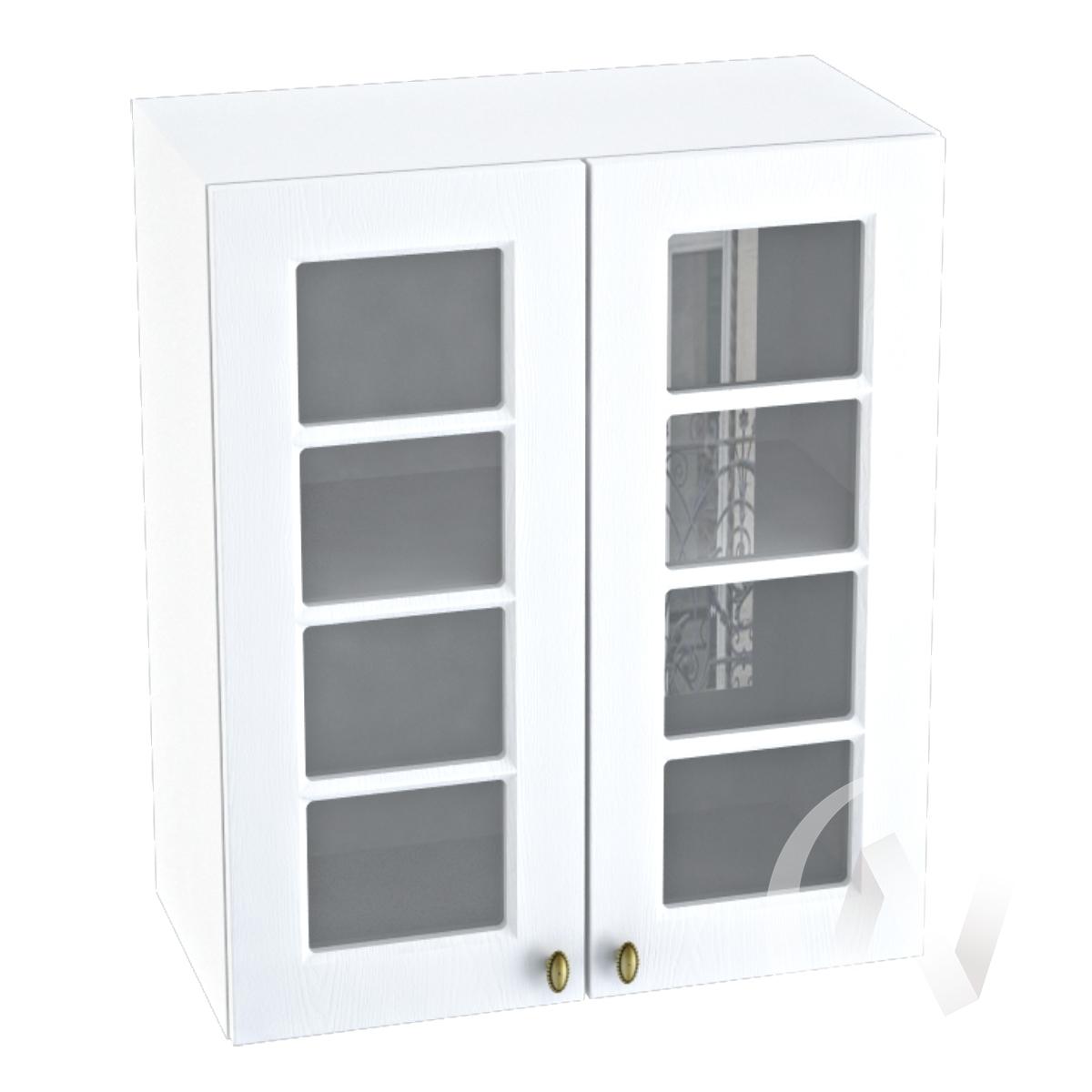 """Кухня """"Прованс"""": Шкаф верхний со стеклом 600, ШВС 600 (белое дерево/корпус белый)"""
