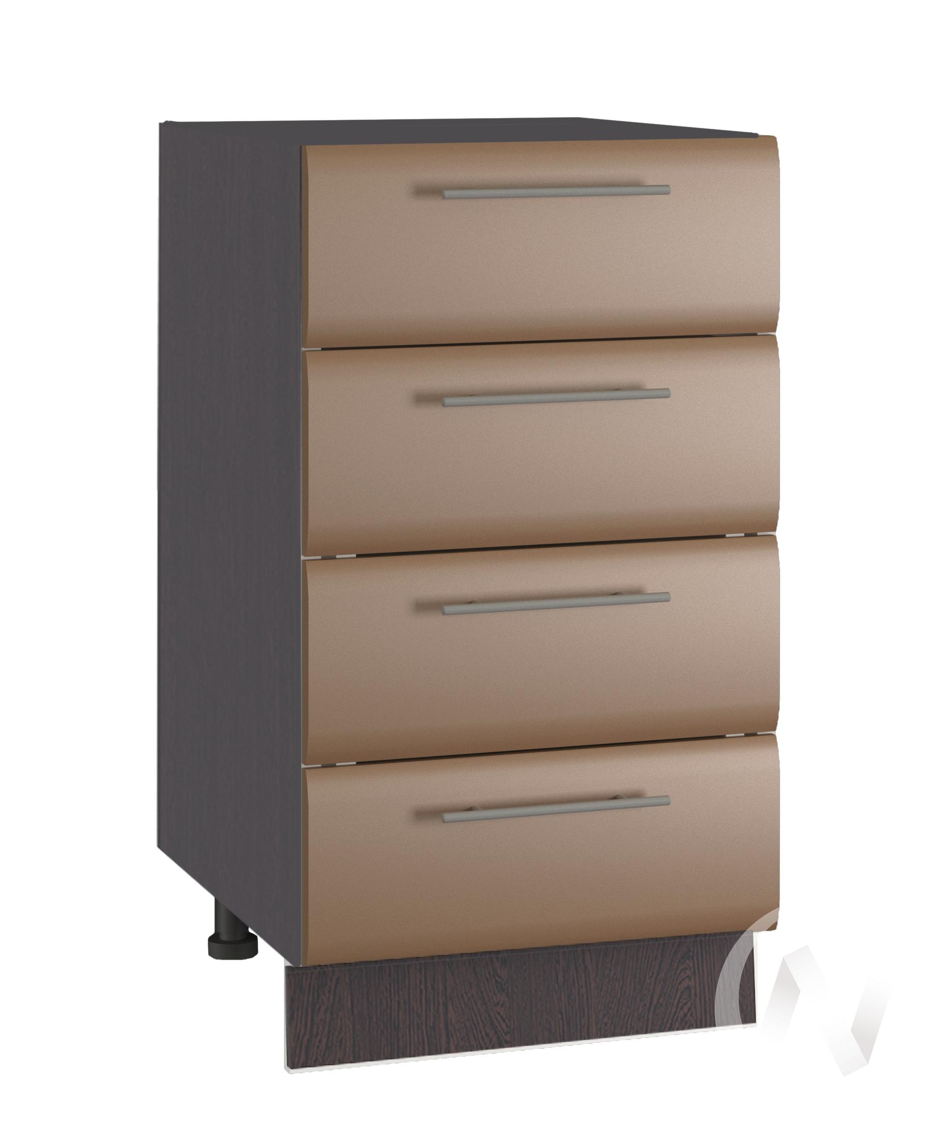 """Кухня """"Люкс"""": Шкаф нижний с 4-мя ящиками 400, ШН4Я 400 (Шоколад матовый/корпус венге)"""