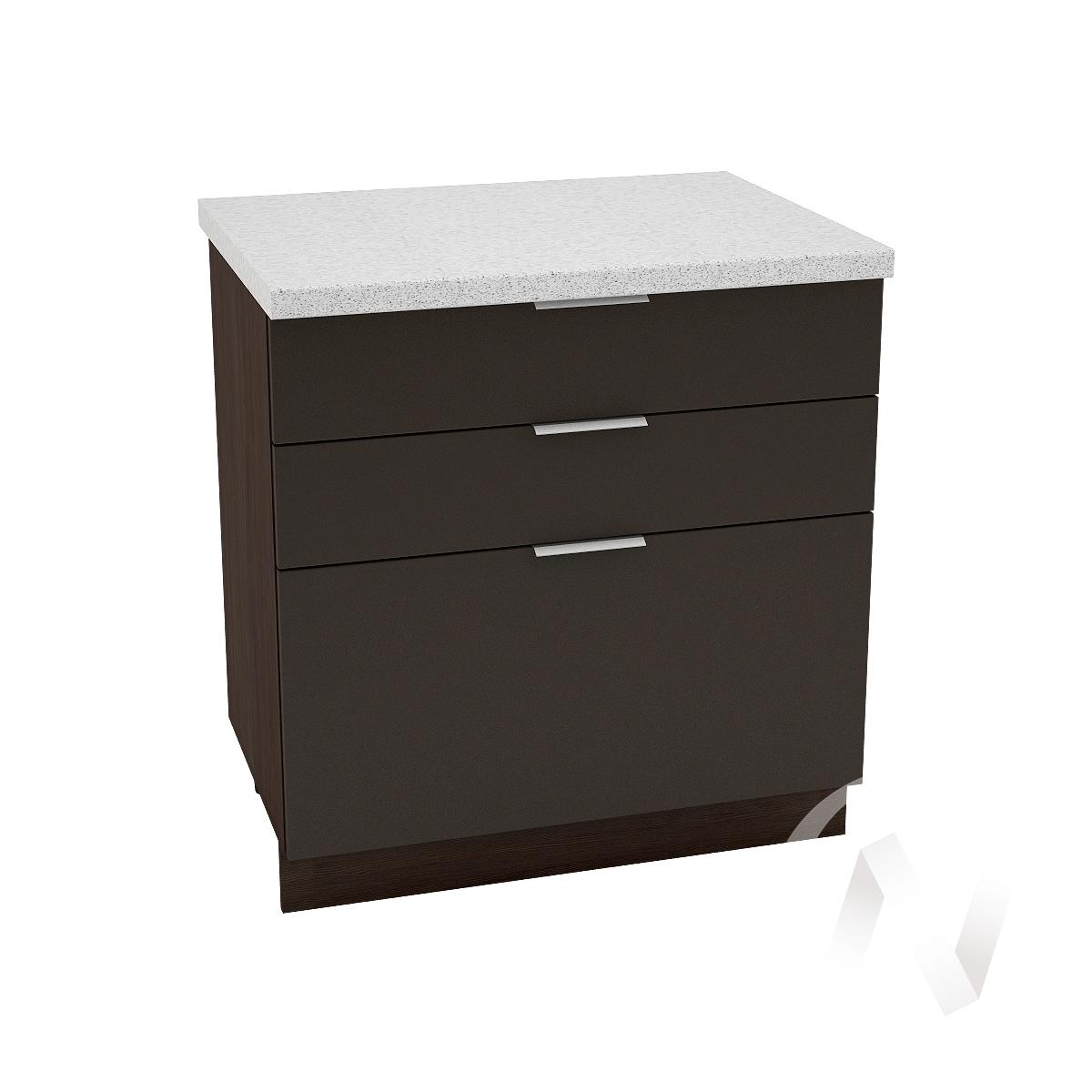"Кухня ""Терра"": Шкаф нижний с 3-мя ящиками 800, ШН3Я 800 (смоки софт/корпус венге)"