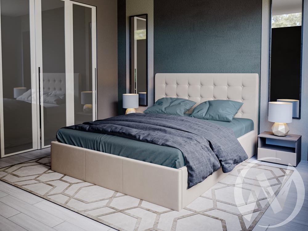 Кровать Эва 1,6 с подъемным механизмом (бежевая)