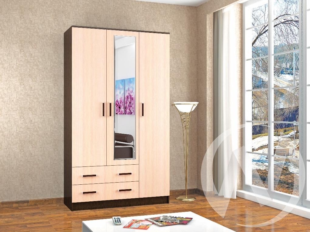 Шкаф комбинированный Лагуна с зеркалом (венге/дуб молочный)