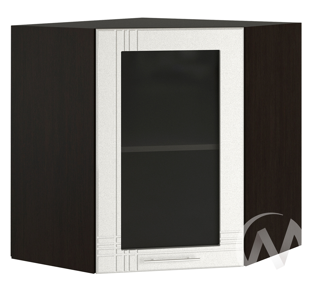 """Кухня """"Струна"""": Шкаф верхний угловой со стеклом 590, ШВУС 590 (белый металлик/корпус венге)"""