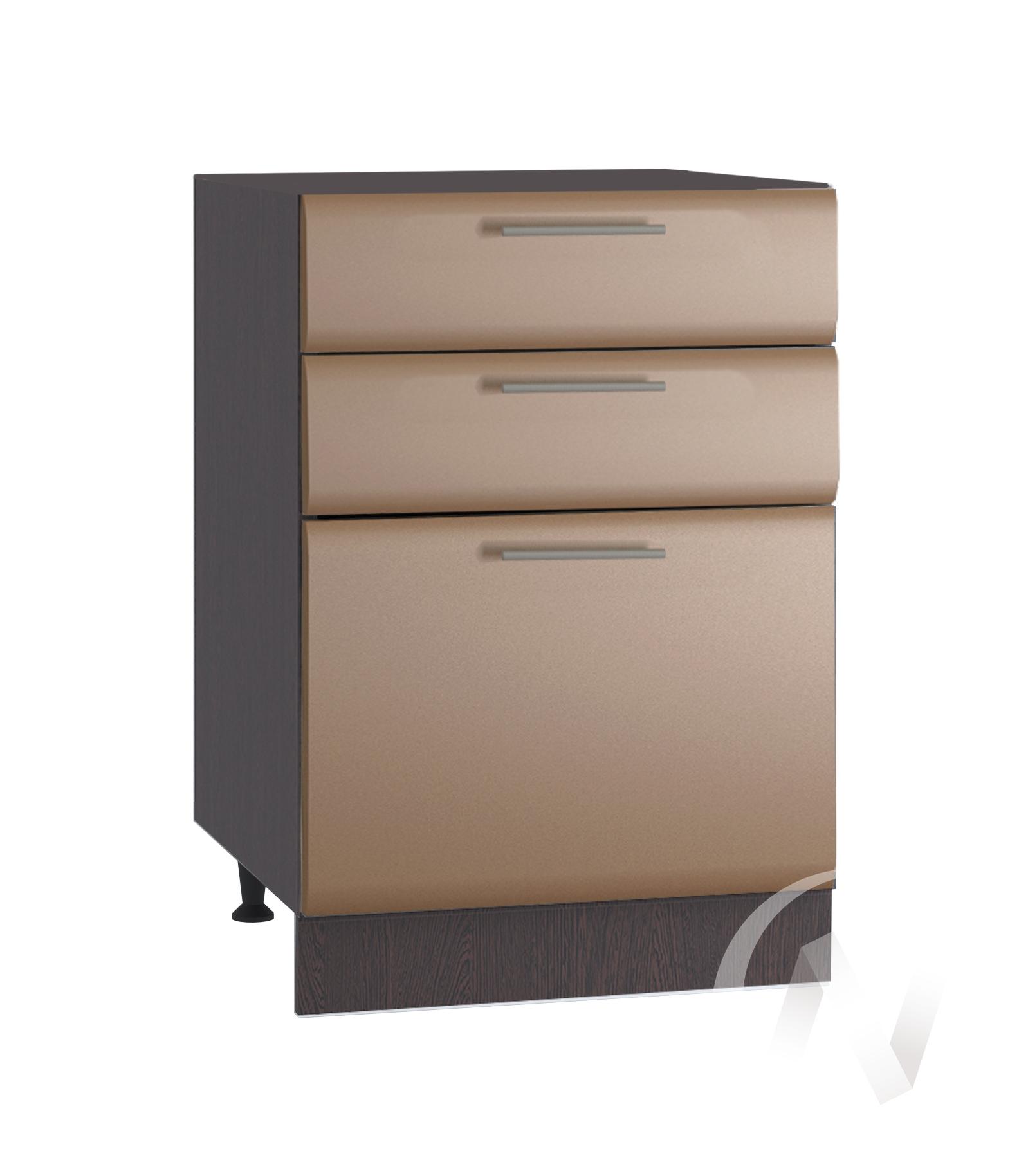 """Кухня """"Люкс"""": Шкаф нижний с 3-мя ящиками 500, ШН3Я 500 (Шоколад матовый/корпус венге)"""