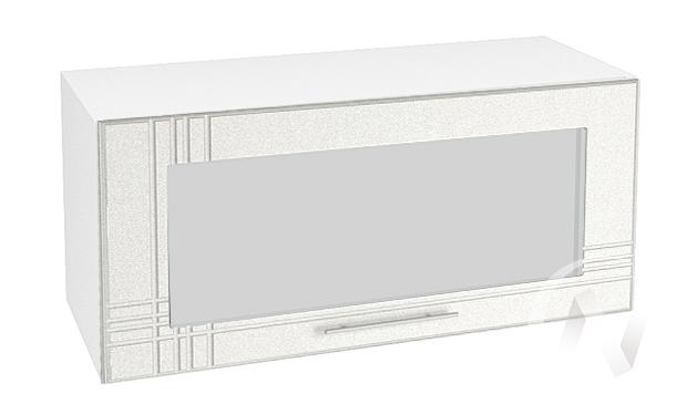 "Кухня ""Струна"": Шкаф верхний горизонтальный со стеклом 800, ШВГС 800 (белый металлик/корпус белый)"