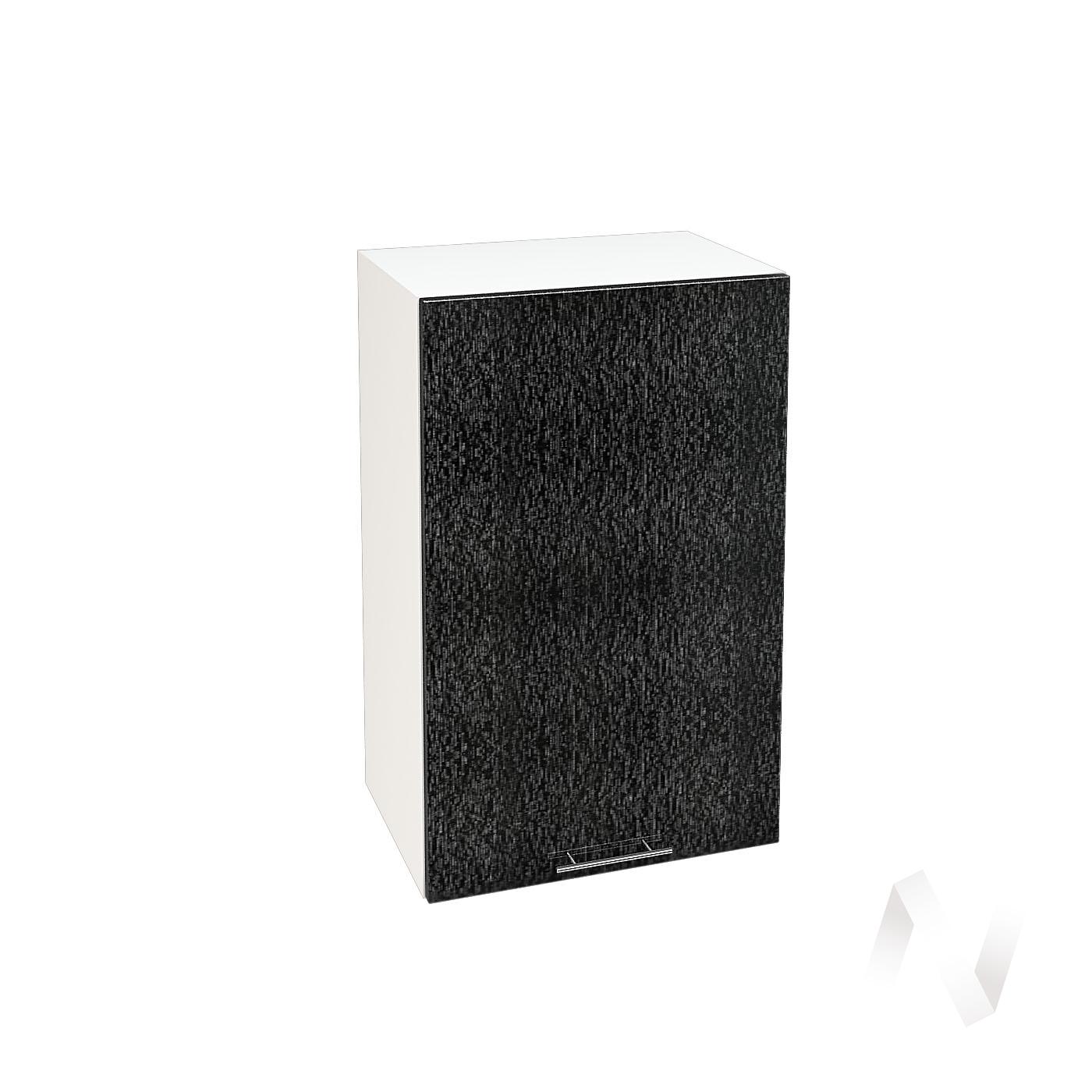 """Кухня """"Валерия-М"""": Шкаф верхний 450, ШВ 450 (дождь черный/корпус белый)"""