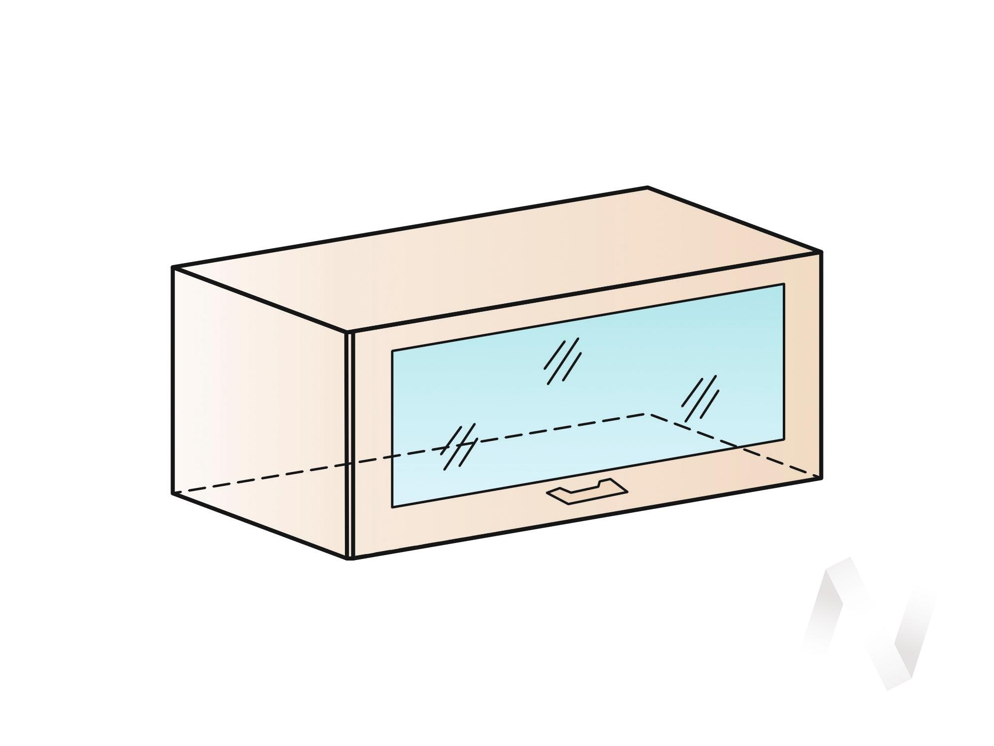 """Кухня """"Валерия-М"""": Шкаф верхний горизонтальный со стеклом 800, ШВГС 800 (бел. металлик/корпус белый) в Томске — авторская мебель Экостиль"""