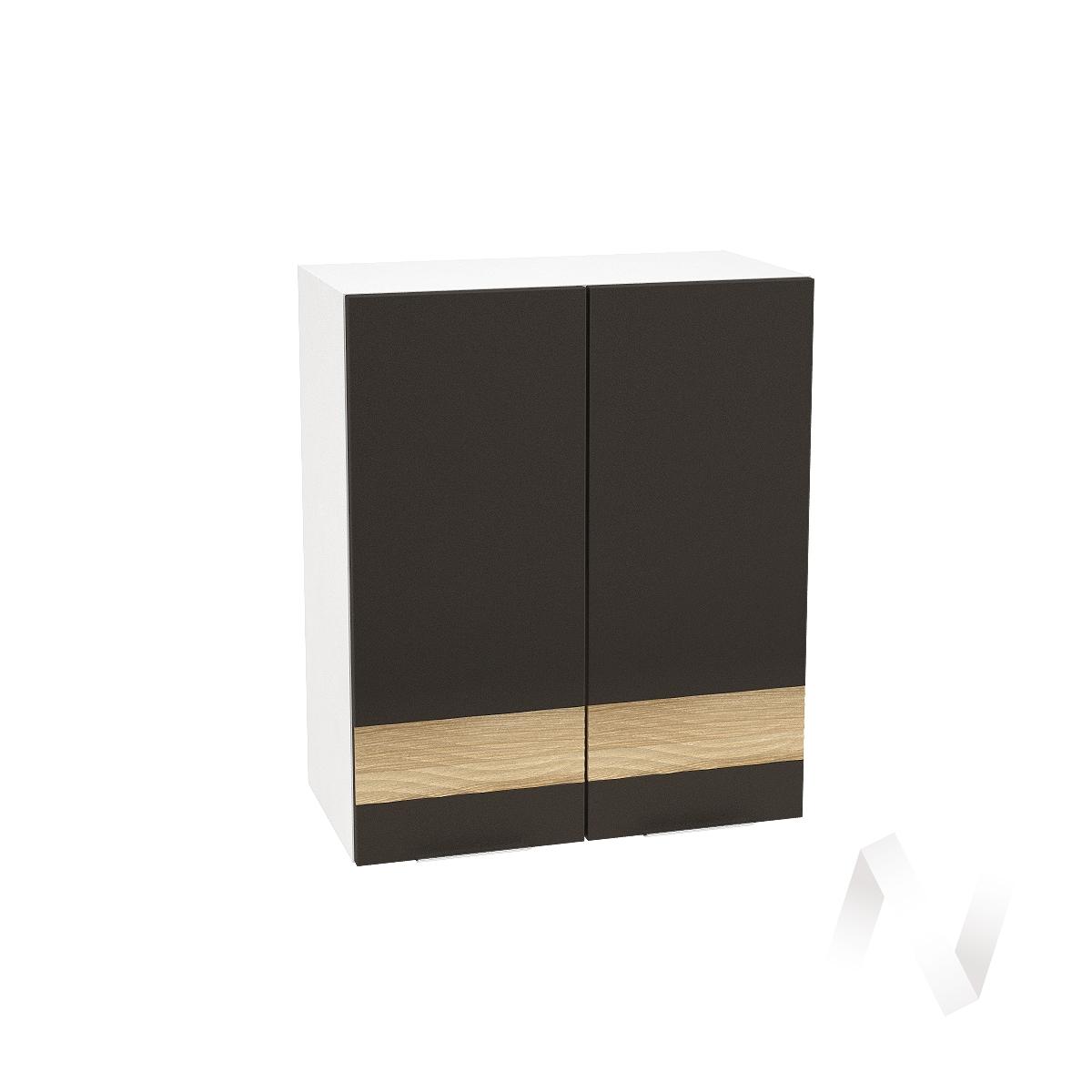 """Кухня """"Терра"""": Шкаф верхний 600, ШВ 600 (смоки софт/ель карпатская/корпус белый)"""