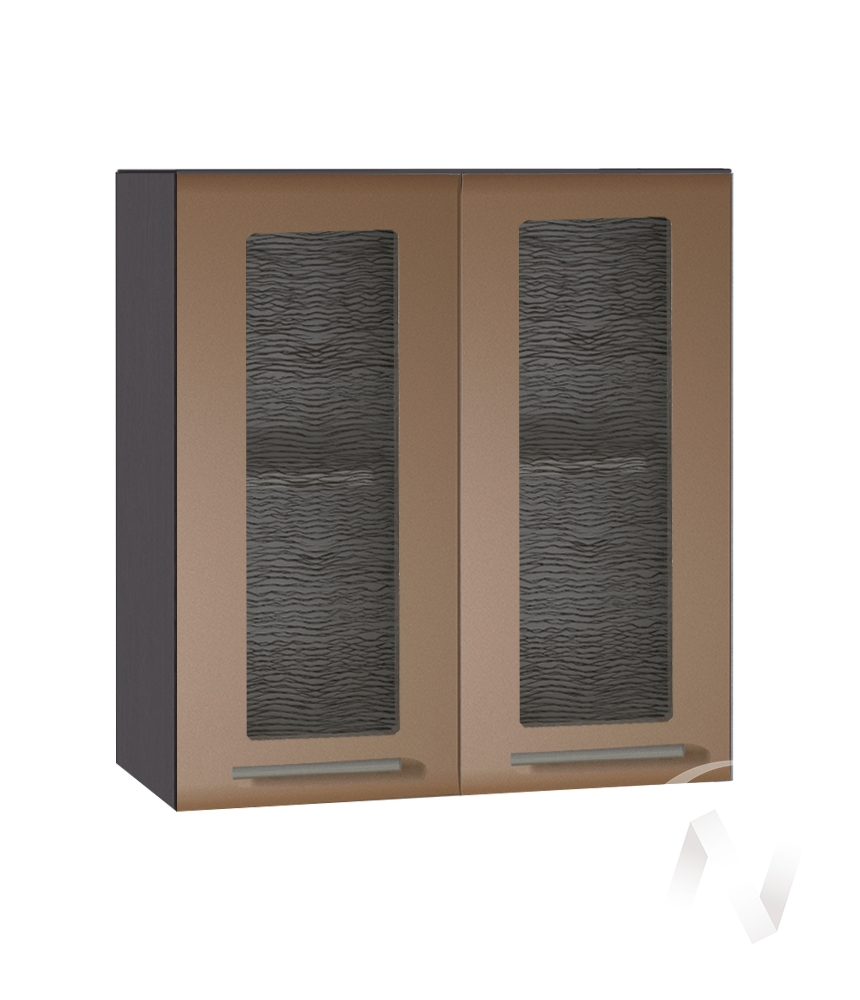 """Кухня """"Люкс"""": Шкаф верхний со стеклом 600, ШВС 600 (Шоколад матовый/корпус венге)"""