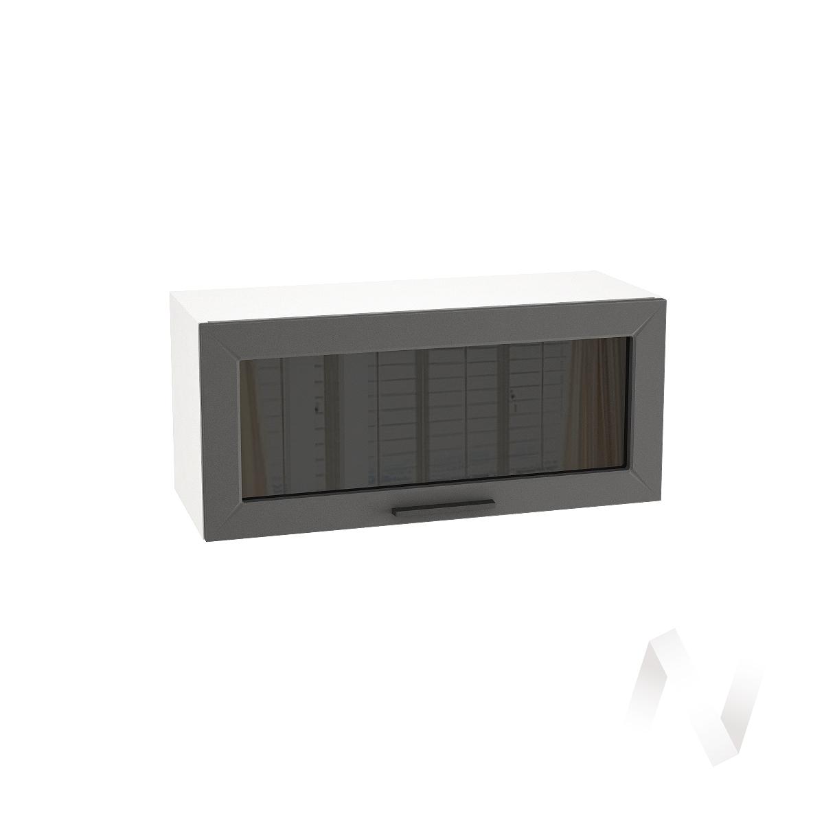 """Кухня """"Глетчер"""": Шкаф верхний горизонтальный со стеклом 800, ШВГС 800 (Маренго силк/корпус белый)"""