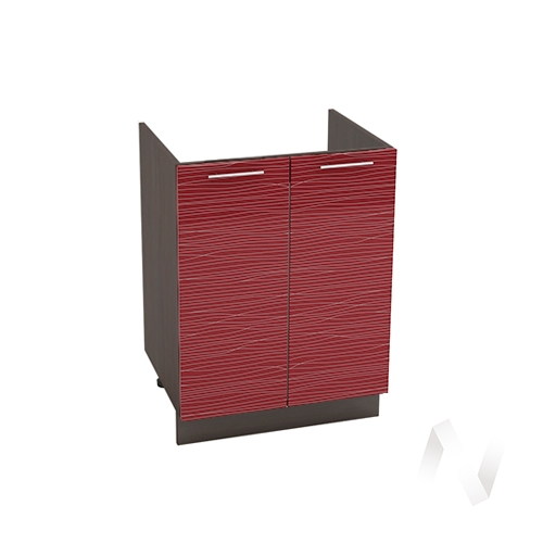 """Кухня """"Валерия-М"""": Шкаф нижний под мойку 600, ШНМ 600 (Страйп красный/корпус венге)"""