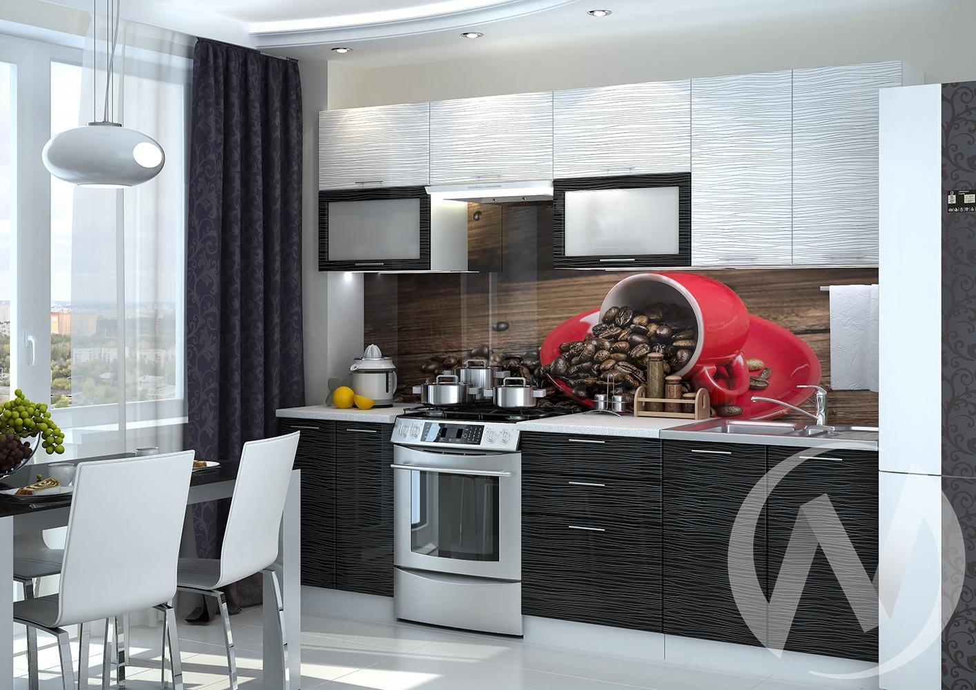 "Кухня ""Валерия-М"": Страйп белый/Страйп черный (корпус белый)"