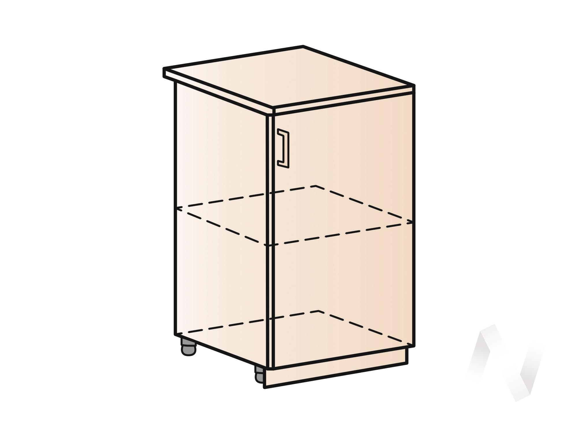 """Кухня """"Люкс"""": Шкаф нижний 500, ШН 500 (Шелк жемчуг/корпус белый) в Новосибирске в интернет-магазине мебели kuhnya54.ru"""